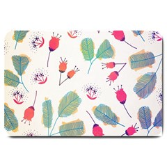 Hand Drawn Flowers Background Large Doormat