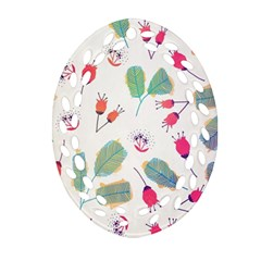 Hand Drawn Flowers Background Oval Filigree Ornament (2 Side)