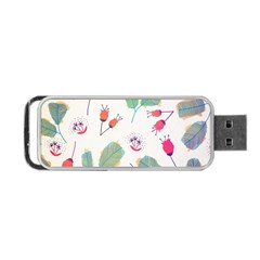 Hand Drawn Flowers Background Portable Usb Flash (two Sides)