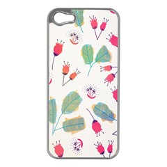 Hand Drawn Flowers Background Apple iPhone 5 Case (Silver)