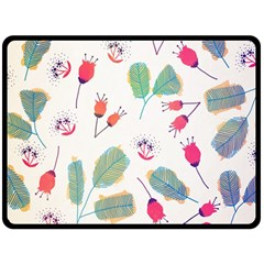 Hand Drawn Flowers Background Double Sided Fleece Blanket (large)