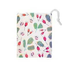 Hand Drawn Flowers Background Drawstring Pouches (Medium)