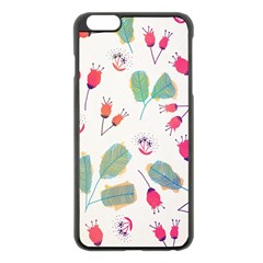 Hand Drawn Flowers Background Apple iPhone 6 Plus/6S Plus Black Enamel Case