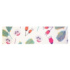 Hand Drawn Flowers Background Satin Scarf (oblong)