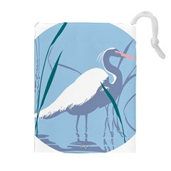 egret Drawstring Pouches (Extra Large)