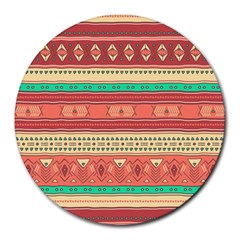 Hand Drawn Ethnic Shapes Pattern Round Mousepads