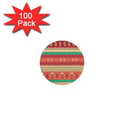 Hand Drawn Ethnic Shapes Pattern 1  Mini Buttons (100 Pack)