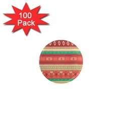 Hand Drawn Ethnic Shapes Pattern 1  Mini Magnets (100 Pack)