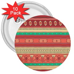 Hand Drawn Ethnic Shapes Pattern 3  Buttons (10 Pack)