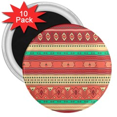 Hand Drawn Ethnic Shapes Pattern 3  Magnets (10 pack)