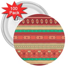 Hand Drawn Ethnic Shapes Pattern 3  Buttons (100 Pack)