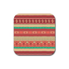 Hand Drawn Ethnic Shapes Pattern Rubber Coaster (square)