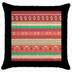 Hand Drawn Ethnic Shapes Pattern Throw Pillow Case (black)