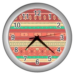 Hand Drawn Ethnic Shapes Pattern Wall Clocks (Silver)