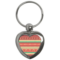 Hand Drawn Ethnic Shapes Pattern Key Chains (heart)