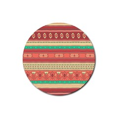 Hand Drawn Ethnic Shapes Pattern Rubber Round Coaster (4 Pack)