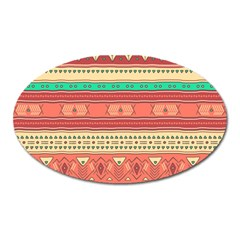 Hand Drawn Ethnic Shapes Pattern Oval Magnet