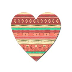 Hand Drawn Ethnic Shapes Pattern Heart Magnet