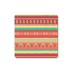 Hand Drawn Ethnic Shapes Pattern Square Magnet
