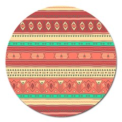 Hand Drawn Ethnic Shapes Pattern Magnet 5  (Round)