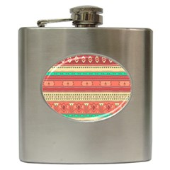 Hand Drawn Ethnic Shapes Pattern Hip Flask (6 Oz)