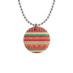 Hand Drawn Ethnic Shapes Pattern Button Necklaces