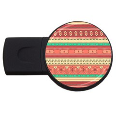 Hand Drawn Ethnic Shapes Pattern Usb Flash Drive Round (4 Gb)