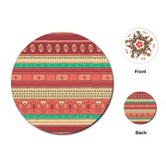 Hand Drawn Ethnic Shapes Pattern Playing Cards (Round)