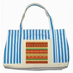 Hand Drawn Ethnic Shapes Pattern Striped Blue Tote Bag