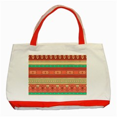 Hand Drawn Ethnic Shapes Pattern Classic Tote Bag (Red)