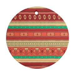 Hand Drawn Ethnic Shapes Pattern Round Ornament (two Sides)