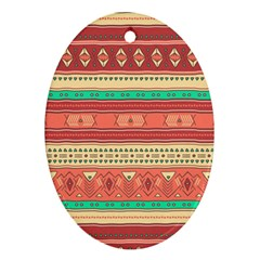 Hand Drawn Ethnic Shapes Pattern Oval Ornament (Two Sides)