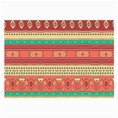 Hand Drawn Ethnic Shapes Pattern Large Glasses Cloth