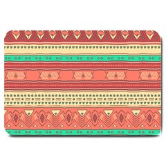 Hand Drawn Ethnic Shapes Pattern Large Doormat