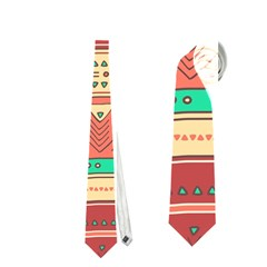 Hand Drawn Ethnic Shapes Pattern Neckties (Two Side)