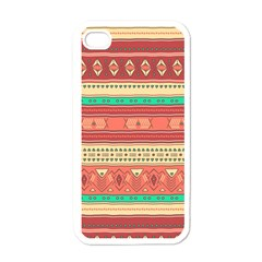 Hand Drawn Ethnic Shapes Pattern Apple iPhone 4 Case (White)