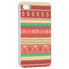 Hand Drawn Ethnic Shapes Pattern Apple iPhone 4/4s Seamless Case (White)
