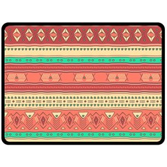 Hand Drawn Ethnic Shapes Pattern Double Sided Fleece Blanket (Large)