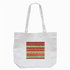 Hand Drawn Ethnic Shapes Pattern Tote Bag (White)
