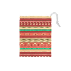 Hand Drawn Ethnic Shapes Pattern Drawstring Pouches (Small)