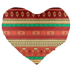 Hand Drawn Ethnic Shapes Pattern Large 19  Premium Flano Heart Shape Cushions