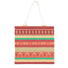 Hand Drawn Ethnic Shapes Pattern Grocery Light Tote Bag