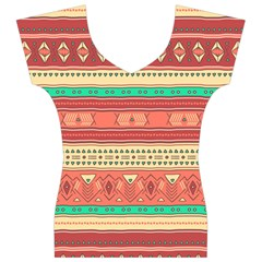Hand Drawn Ethnic Shapes Pattern Women s V-Neck Cap Sleeve Top