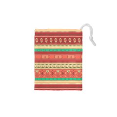 Hand Drawn Ethnic Shapes Pattern Drawstring Pouches (XS)