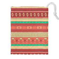 Hand Drawn Ethnic Shapes Pattern Drawstring Pouches (xxl)