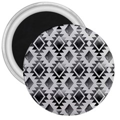 Hand Painted Black Ethnic Pattern 3  Magnets