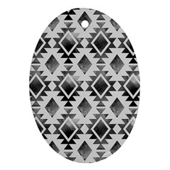 Hand Painted Black Ethnic Pattern Oval Ornament (Two Sides)