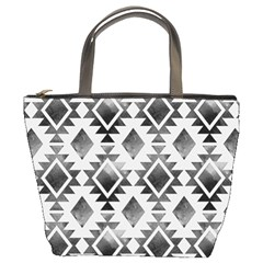 Hand Painted Black Ethnic Pattern Bucket Bags