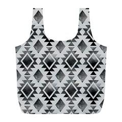 Hand Painted Black Ethnic Pattern Full Print Recycle Bags (L)