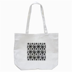 Hand Painted Black Ethnic Pattern Tote Bag (White)